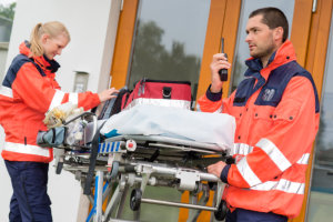 Paramedic ready for emergency